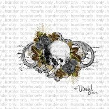 Waterslide Decal <b>Gothic</b> Skull Floral <b>Halloween Theme</b> image ...