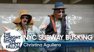 Christina Aguilera Busks in NYC Subway in Disguise - YouTube