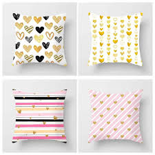 <b>Fuwatacchi Heart</b> Love Shape Throw <b>Pillows</b> Cover Gold Geometric ...