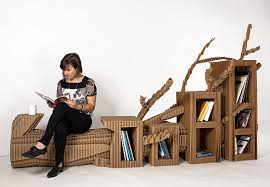 australian architect toby horrocks designed this set of flat pack cardboard furniture to explore ways that urban and rural spaces can meet in a piece of card board furniture