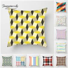<b>Fuwatacchi</b> Fluorescent Yellow <b>Geometric Cushion</b> Cover <b>Striped</b> ...