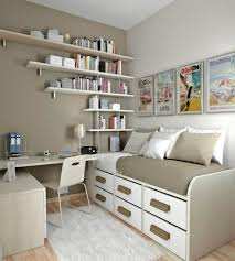 fascinating teenage bedroom design for small space with wall mounted book shelving organizers over single bedroom furniture small