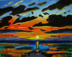 Art oil painting Sunset <b>Lake original</b> Abstract 7x9 D.Oberling ...