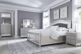 design panel piece bedroom set coralayne  piece upholstered panel bedroom set in silver