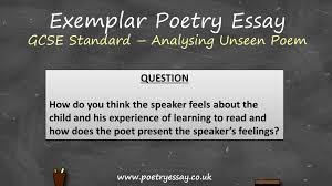 exemplar poetry essay analysing an unseen poem gcse standard exemplar poetry essay analysing an unseen poem gcse standard