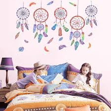 <b>Nordic Style Cute</b> Wind Chime Feather Wall Sticker Decor Children ...