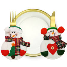 household dining table set christmas snowman knife: pcs lovely snowman table bag tableware pouch household gift dining sets christmas xmas decoration home decoration