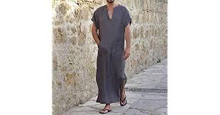DAIDAICP Arab Style <b>S</b>-<b>5Xl Robe Dress</b> Men Short Sleeve Cotton V ...