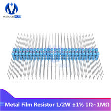 <b>100PCS Metal</b> Film Resistor 1% +1% 1% 1/2W 0.5W 1R 1M Ohm ...