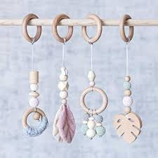 Let's Make 4pcs Baby Gym Toys Wood Baby Teether ... - Amazon.com