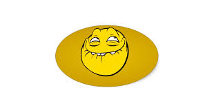 Meme Face Smiley Emoticon Yelow Funny Head Troll Oval Sticker | Zazzle via Relatably.com