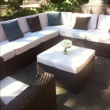 patio furniture sectional ideas: outdoor rattan sectional sofa with white cushion and ottoman table idea sby costco patio furniture