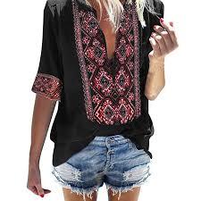 Womens T Shirts Boho Embroidered V Neck Short ... - Amazon.com