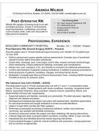 med surg rn resume sample resume for post op nurse how to write a nursing resume