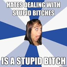 Hates dealing with stupid bitches Is a stupid bitch - Annoying ... via Relatably.com