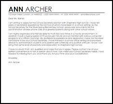 school secretary cover letter sample cover letter for a secretary position