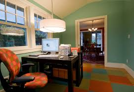 astounding home office design with drum lamp shade also wooden working desk on colorful rug covering astounding home office desk