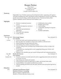 crew member resume sample restaurant server sample resume