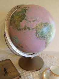 vintage upcycled pink world globe home office anywhere decor shabby chic chic vintage home office
