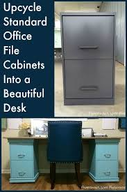 upcycle standard office file cabinets into the base for a beautiful desk organizing chic base group creative office