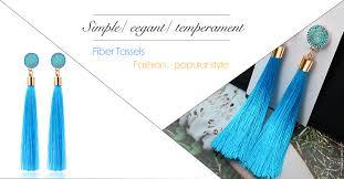 BICUX Fashion <b>Bohemian Tassel Crystal Long</b> Earrings White Red ...