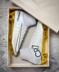 c ronaldo new shoes gold white