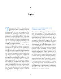 origins  origin and evolution of earth research questions for  page