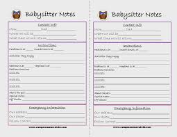 best images of printable babysitter checklist printable printable babysitter notes