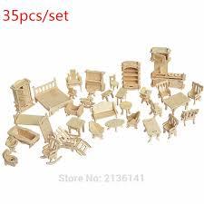 new arrive 35 pcsset wood furniture toys miniature chair miniature dollhouse furniture accessories develop affordable dollhouse furniture