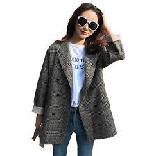 2019 Spring <b>Autumn New</b> Korean Short Plaid Suit Jacket <b>Loose</b> ...