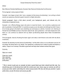 scholarship thank you letter example thank you letter  sample scholarship