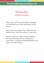 great apsa citation style for political science annotated bibliography apsa format sample