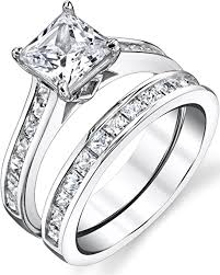 Sterling Silver Princess Cut Bridal Set Engagement ... - Amazon.com
