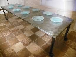 images zinc table top: zinc top dining table industrial legs with casters