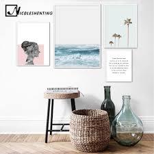 <b>Scandinavian</b> Style Ocean Waves <b>Palm Tree Nordic</b> Poster ...