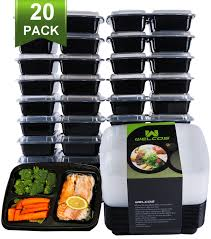 Amazon Com Meal Prep Containers 20 Pack 3 Compartment Food