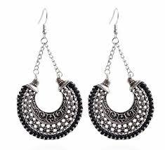 2019 <b>Hot Style Vintage Tibetan</b> Silver Ethnic Wind Earrings Woven ...