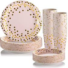 Gold Dot Disposable Paper Plates and Cups for Party ... - Amazon.com
