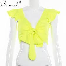 <b>Simenual Neon</b> Color Sexy Women Wrap Top Casual Bandage ...