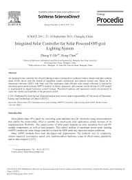 (PDF) Integrated <b>Solar Controller</b> for <b>Solar</b> Powered off-Grid Lighting ...