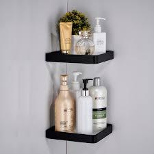 <b>Space Aluminum</b> Bathroom Glass <b>Triangle</b> Shelf Black Tempered ...