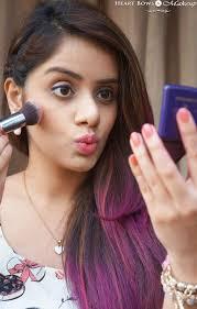 indian skin pouting applying blush spring makeup tutorial