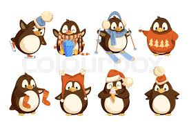 <b>Penguin</b> in winter wearing warm clothes ...   Stock vector   Colourbox
