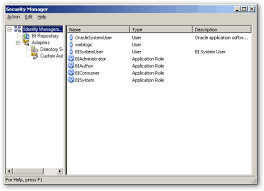 users and application roles roughly analogous to groups in 10g are now defined in the weblogic server admin console and you use the security manager to obiee administration