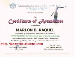 tidbits and bytes example of certificate of attendance seminar example of certificate of attendance seminar on entrepreneurship the pros and cons of starting a business