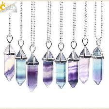 <b>CSJA</b> Fluorite Necklace <b>Natural Gem Stone</b> Quartz Bullet ...