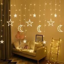 2.5m 3.5m usb plug in <b>led moon star</b> curtain <b>fairy</b> ins christmas string ...