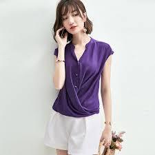 Women Summer Fashion <b>Chiffon Shirt</b> Loose <b>Thin</b> V-neck <b>Short</b> ...