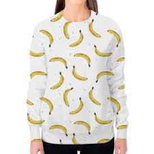 """Свитшот женский с полной запечаткой """"<b>Бананы</b> на белом ..."""