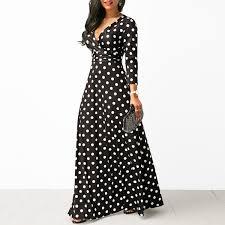 <b>Women</b> Polka Dot Long Sleeve Boho <b>Dress Elegant Vintage</b> ...